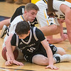 Mankato East's Grant Hermer (front) fights for a loose ball against Hutchinson's Jake Malone during Wednesday's Section 2AAA playoff game. East handily beat the Tigers and will face Mankato West in the next round. Photo by Jackson Forderer
