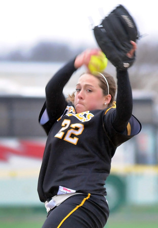 Gustavus Adolphus College's Sarah Rozell delivers a pitch during their MIAC tournament game against Carleton Friday at Caswell Park.
