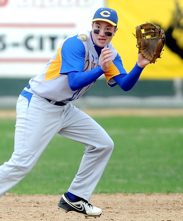 Pat Christman<br /> Mankato Loyola shortstop Evan Ellingworth tracks a ball during the first inning against St. Clair Thursday at Franklin Rogers Park.