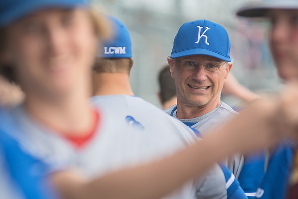 Head coach of the Lake Crystal Wellcome Memorial baseball team John Madsen looks down his dugout in between games of a double header played in Lake Crystal on Tuesday. Photo by Jackson Forderer