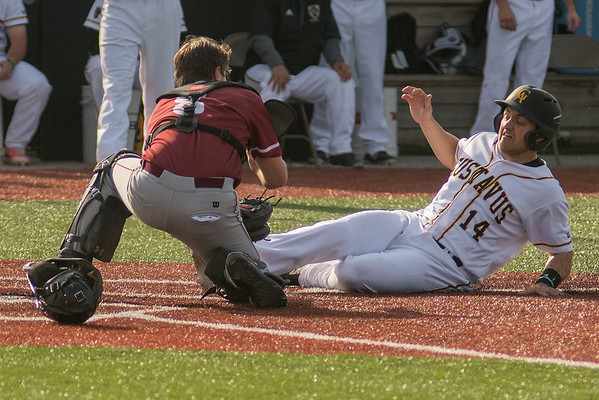 Gustavus' Nolan Lepel (14) is tagged out at home by Hamline's catcher Elliott Engen in the second game of a double header played on Wednesday. The Gusties swept Hamline 3-0 and 4-3. Photo by Jackson Forderer