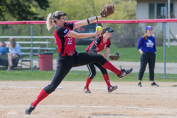 Bria Majeski of Bethany Lutheran delivers a pitch to a University of Northwestern batter during Saturday's game. Photo by Jackson Forderer