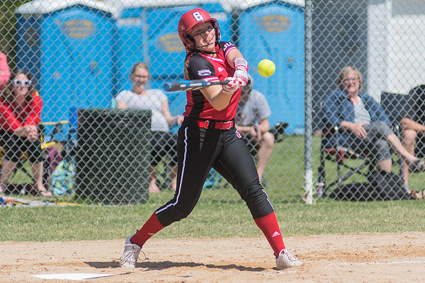 Bethany Lutheran's Eden Ambrose takes a swing at a pitch during the Vikings' game against the University of Northwestern on Saturday. The Vikings lost the game 5-0 to bow out of the UMAC conference tournament. Photo by Jackson Forderer
