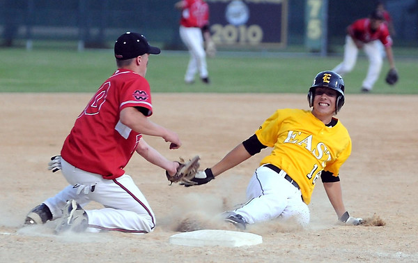 Mankato East's Michael Zellar is tagged out at third by Mankato West's Josh Athey during their game Friday at Wolverton Field.
