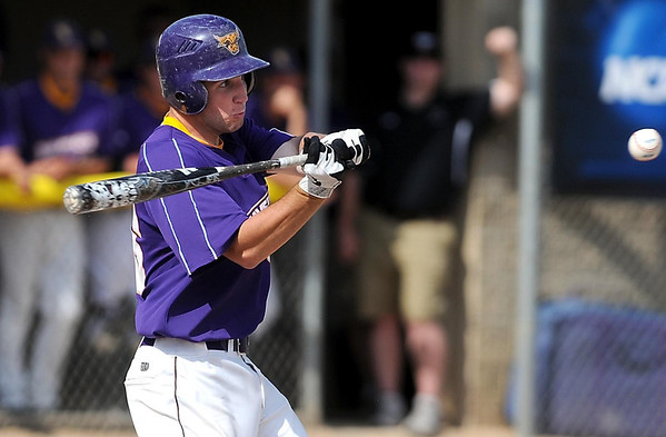 Minnesota State's Nolan Johnson takes a swing during the third inning during their NCAA Division II Central Region game against Colorado Mesa Friday at Franklin Rogers Park.