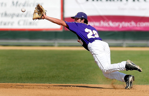 Minnesota State shortstop Connor McCallum lunges for the ball during the second inning of their NCAA Division II Central Region game against Colorado Mesa Friday at Franklin Rogers Park.