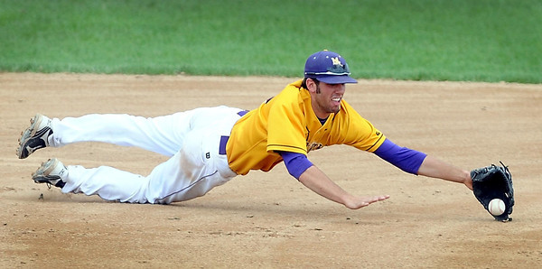 Pat Christman<br /> Minnesota State third baseman Connor McCallum dives for a ground ball against St. Cloud State in their NCAA Division II Central Region semifinal game Saturday at Franklin Rogers Park.