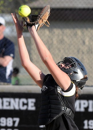 Pat Christman<br /> Mankato East's Torey Richards catches a pop up near home plate during a game against Prior Lake Tuesday.