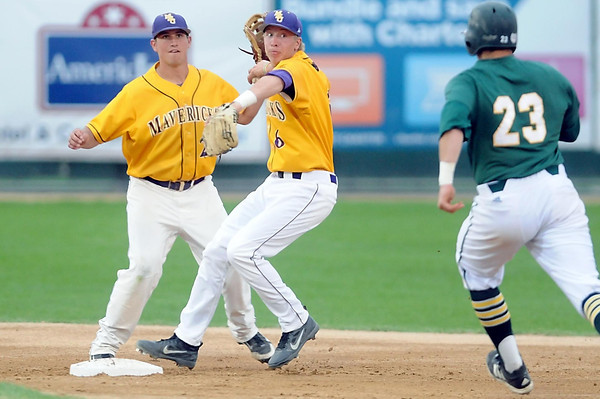 Pat Christman<br /> Minnesota State's Lucas Skjefte (6) turns a double play ahead of Missouri Southern State's Nick Doughty during their NCAA Division II Central Region baseball tournament game Thursday at Franklin Rogers Park.