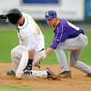 Missouri Western State's Jake Schrader beats the tag of Minnesota State shortstop Lucas Skjefte for a double in the early innings.