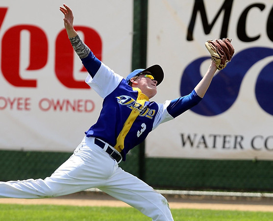 Waseca's Jacob Walter makes a running catch in right field during a game against Mankato Loyola Saturday at Franklin Rogers Park. Photo by Pat Christman