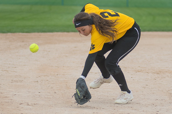 Mankato East's Lily Andrego gets to the ball a second too late during the Cougars' game against Waconia on Saturday at Caswell Park. The Cougars finished with a 1-2 record at the Mankato East Softball Invitational. Photo by Jackson Forderer
