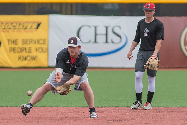 Bethany Lutheran's Ben Boran fields a ground ball during practice on Tuesday at Franklin Rogers Park. Photo by Jackson Forderer