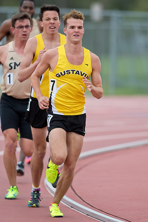 Evan Jones (7) of Gustavus leads the 5000 meter run in front of teammate Sam Benson at the MSU Twilight track meet held on Wednesday. Jones finished in second place with a time of 16 minutes 8 seconds. Photo by Jackson Forderer