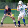 Pat Christman<br /> Maple River's Nell Gehrke collides with St. Peter's Kierstin Karlsrud as she fields a ball during their Section 2AA championship game Thursday at Caswell Park.