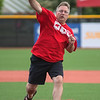 Mankato mayor Eric Anderson throws out the ceremonial first pitch at the re-opening of the remodeled Franklin Rogers Park. Photo by Jackson Forderer