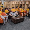 Players from the Gold 14AAA and Maroon 14AA little league teams relax in the new MoonDogs locker room before the start of their game. Two Mankato Area Youth Baseball Association little league games kicked off the grand re-opening of the remodeled Franklin Rogers Park. Photo by Jackson Forderer