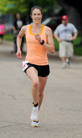 Jill Nolta of Mankato was the first women 10k runner to finish with a time of 41:07. Photo by John Cross