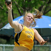 Mankato East's Claire Ziegler competes in the shot put at the Section 2AA Track and Field Finals at Gustavus Adolphus College on Friday. Photo by John Cross