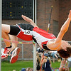 Mankato West high jumper Logan Bristol easily clears the bar during the Section 2AA Track and Field Finals at Gustavus Adolphus Collete on Friday. Photo by John Cross