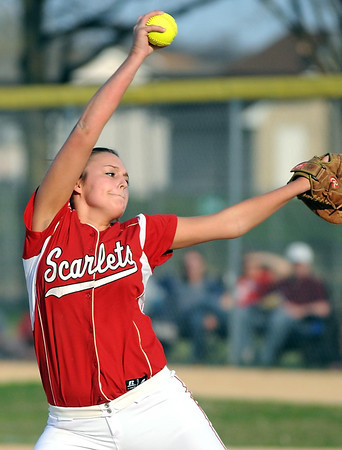 Pat Christman<br /> Mankato West's Melissa Elkins delivers a pitch during their game with Mankato East Tuesday.