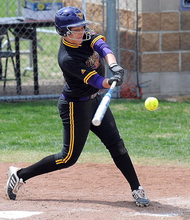 Pat Christman<br /> Minnesota State's Samantha Holien swings at a pitch during the first game against Winona Saturday.