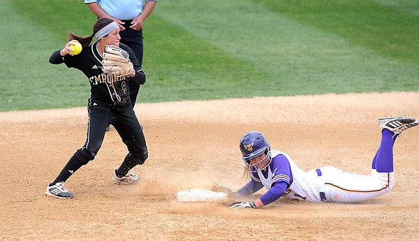 Minnesota State's Samantha Holien can't get to second base before Emporia State's Sydney Owens gets the first out of a double play in the second inning of their NCAA Division II softball regional tournament game Saturday at MSU. Photo by Pat Christman