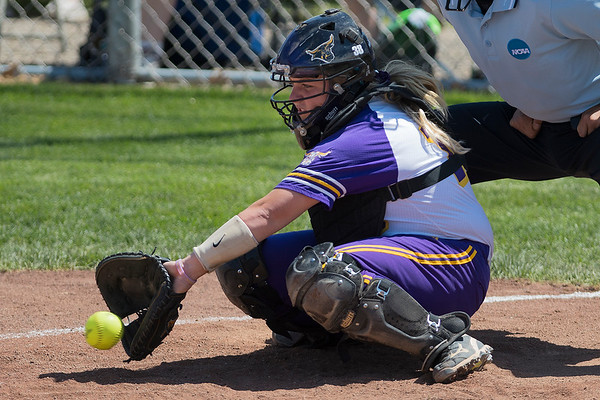 Minnesota State catcher Cori Kennedy snags a low pitch in the Mavericks game against Augustana on Saturday. Photo by Jackson Forderer