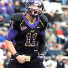 Minnesota State University quarterback Jon Wolf celebrates a first half touchdown run against the University of Sioux Falls Saturday.