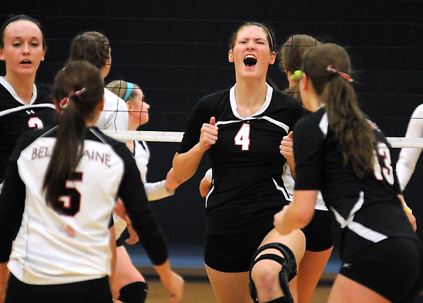 Belle Plaine/Holy Family Academy's Jordan Going celebrates a point during their Section 2AA championship game against Le Sueur-Henderson Saturday at Gustavus Adolphus College.