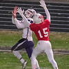 Mankato West's Josh Block (15) defends a pass thrown to Waconia's Jaden Vanderhoff in the second half of the Section 2AAAAA championship game. The West defense stymied the long passing game of Waconia. Photo by Jackson Forderer