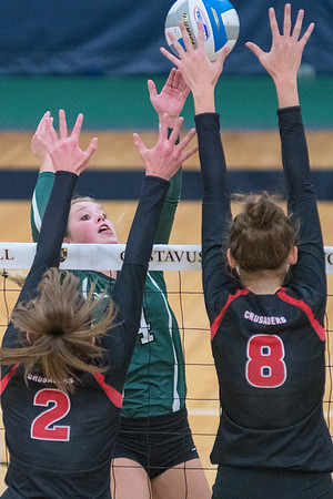 Waterville-Elysian-Morristown's MaeLea Harmon tries to tip the ball over Mayer Lutheran's Sophia Heuer (2) and Olivia Tjernagel (8) during Saturday's Section 2A championship match played at Gustavus. WEM lost in straight sets 25-18, 25-13, 25-6. Photo by Jackson Forderer