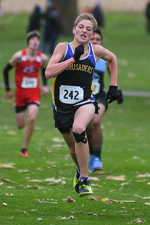 Mankato Loyola/Cleveland's ??? sprints towards the finish line at the Section 2A cross country meet held at the Riverside Golf and Country Club in rural Blue Earth. Photo by Jackson Forderer