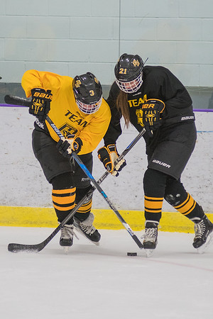 Mankato East's Camryn Steinberg (left) tries to get the puck away from teammate Shoshana Bruner during a drill in which the defense played with their sticks upside down. The East girls hockey team returns to the ice after making it to the state tournament last year. Photo by Jackson Forderer