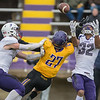 Minnesota State's Justin Arnold and University of Sioux Falls' Hakeem Johnson vie for a tipped ball in the second quarter of Saturday's game. Arnold had four catches for 103 yards to help the Mavericks to a 31-21 and remain undefeated at 10-0. Photo by Jackson Forderer