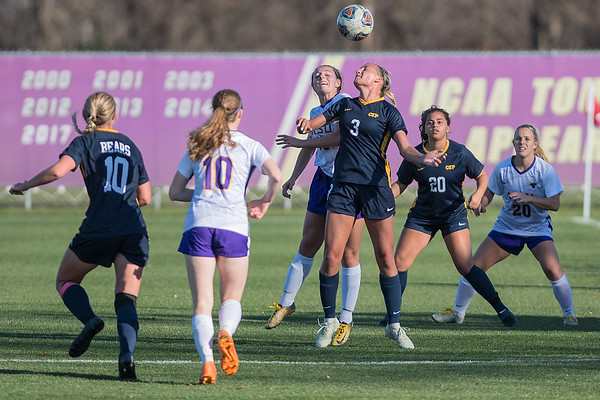 Concordia-St. Paul's Leah Johnson (3) and Minnesota State's Caitlin Brown both go up for a header in  the first half of Wednesday's game. Photo by Jackson Forderer
