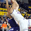 Pat Christman<br /> Minnesota State's Connor O'Brien reaches for a rebound during the first half against Waldorf Friday at Bresnan Arena.
