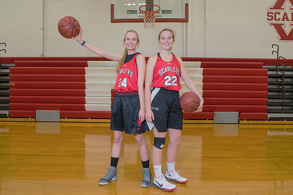 Haley Kiewatt (24) and Bridget Johnson (22) are returning seniors for the Mankato West girls basketball team. Photo by Jackson Forderer