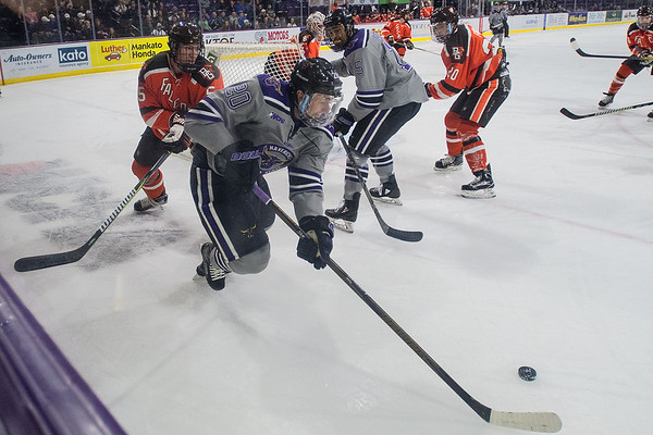 Minnesota State's Marc Michaelis skates behind the net during the first period of the Mavericks game played against Bowling Green on Saturday. Photo by Jackson Forderer