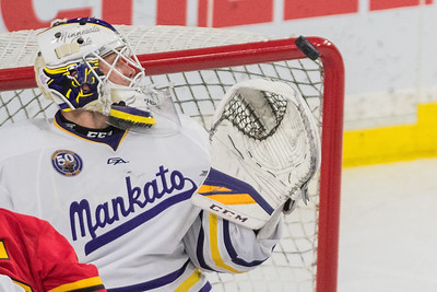Minnesota State goaltender Mathias Israelsson watches an airborne puck go off of the corner of the goal in the third period in the Mavericks' game against Ferris State. Israelsson made 24 saves on 26 shots against the Bulldogs. Photo by Jackson Forderer