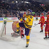 Minnesota State's Dallas Gerads (22) celebrates after scoring a goal against Ferris State in the first period of play during Friday's WCHA game played at Verizon Center. Photo by Jackson Forderer