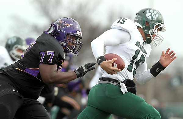 Minnesota State's Bryan Keys chases down Northwest Missouri State quarterback Trevor Adams during their NCAA Division II Super Regional tournament game Saturday at Blakeslee Stadium.