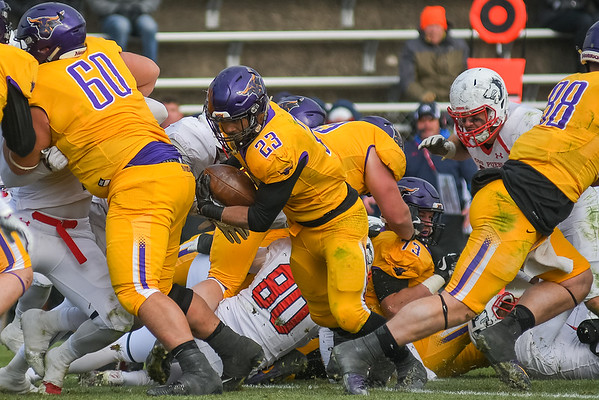 Minnesota State's Nate Gunn (23) escapes a scrum of players in the Mavericks playoff game against Colorado State-Pueblo played at Blakeslee Stadium on Nov. 18. Photo by Jackson Forderer
