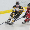 Mankato East/Loyola's Hannah Helms (7) curls around the net while being chased by Sunshine Langworthy (5) of Mankato West during the second period of Tuesday's game played at All Season Arena. Photo by Jackson Forderer