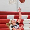 Claire Hemstock, a junior forward with the Mankato West girls basketball team, works on her reverse layups during practice on Wednesday. Photo by Jackson Forderer