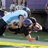 Minnesota State's Connor Thomas dives into the end zone during the first half against Upper Iowa Saturday at Blakeslee Stadium.