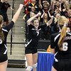 Belle Plaine's Mariena Hayden celebrates a kill with her teammates during their State Class AA quarterfinal match against Thief River Falls Thursday at the Xcel Energy Center in St. Paul. Hayden finished with a team-high 16 kills in the Tigers' win.