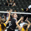Belle Plaine's Haley Fogarty hits the ball during their State Class AA quarterfinal match against Thief River Falls Thursday at the Xcel Energy Center in St. Paul.