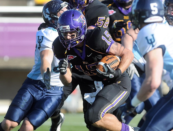 Minnesota State University's Andy Pfeiffer scores a touchdown during the first half against Upper Iowa Saturday at Blakeslee Stadium.