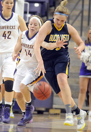 Pat Christman<br /> Minnesota State's Ashley Olson (14) collides with Buena Vista's Malarie Gilley (55) during the first half Tuesday at Bresnan Arena.